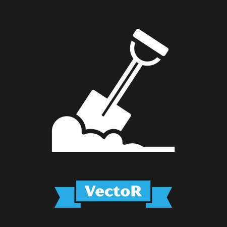 White Shovel in the ground icon isolated on black background. Gardening tool. Tool for horticulture, agriculture, farming. Vector Stock Illustratie