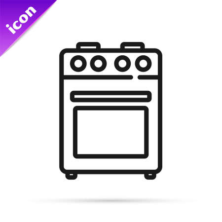 Black line Oven icon isolated on white background. Stove gas oven sign. Vector 일러스트