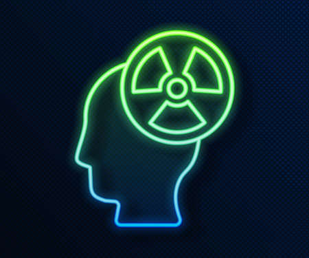 Glowing neon line Silhouette of a human head and a radiation symbol icon isolated on blue background. Vector