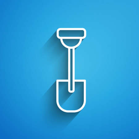 White line Shovel icon isolated on blue background. Gardening tool. Tool for horticulture, agriculture, farming. Long shadow. Vector