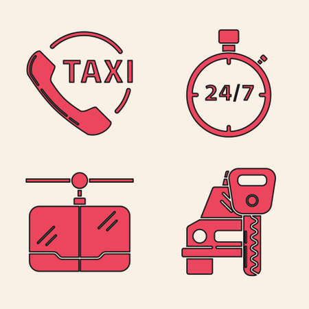 Set Car rental, Taxi call telephone service, Stopwatch 24 hours and Cable car icon. Vector