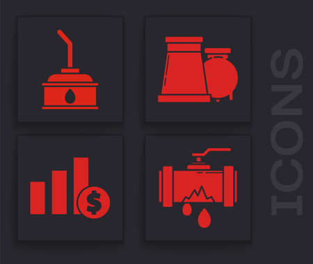 Set Broken metal pipe with leaking water, Canister for motor machine oil, Oil and gas industrial factory building and Pie chart infographic and dollar icon. Vector