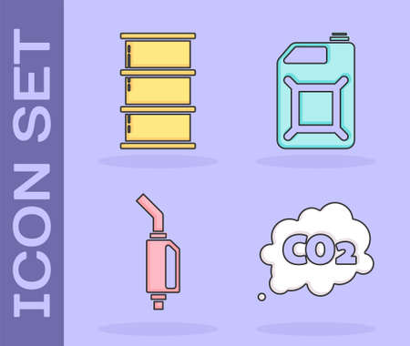Set CO2 emissions in cloud, Barrel oil, Gasoline pump nozzle and Canister for gasoline icon. Vector