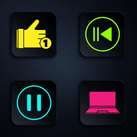 Set Laptop, Hand like, Pause button and Rewind. Black square button. Vector