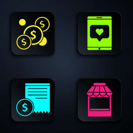 Set Shopping building or market store, Coin money with dollar, Paper check and financial check and Mobile phone and like with heart. Black square button. Vector