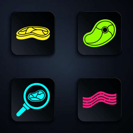 Set Bacon stripe, Steak meat, Steak meat in frying pan and Steak meat. Black square button. Vector