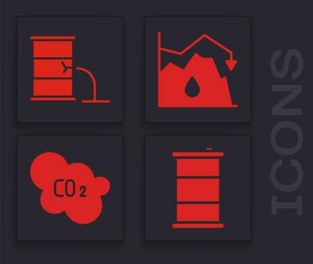 Set Barrel oil, Barrel oil leak, Drop in crude oil price and CO2 emissions in cloud icon. Vector Stock Illustratie