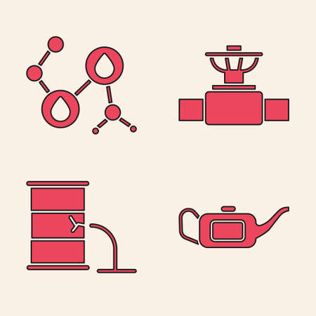 Set Canister for motor oil, Molecule oil, Industry pipe and valve and Barrel oil leak icon. Vector