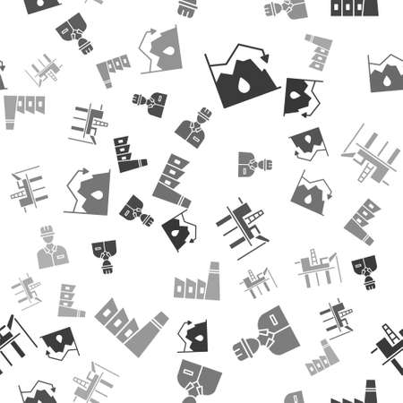 Set Drop in crude oil price, Oilman, Oil platform in the sea and Oil industrial factory building on seamless pattern. Vector Stock Illustratie