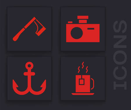 Set Cup of tea with tea bag, Wooden axe, Photo camera and Anchor icon. Vector Illusztráció