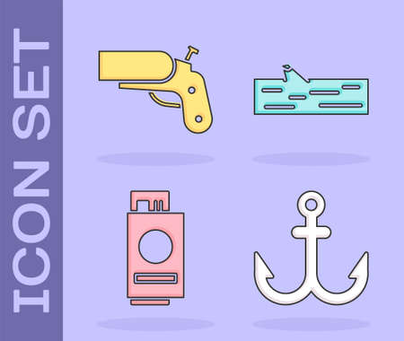 Set Anchor, Flare gun pistol, Passport with ticket and Wooden log icon. Vector