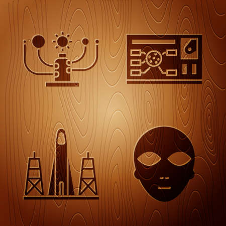 Set Alien, Solar system, Rocket launch from the spaceport and Futuristic hud interface on wooden background. Vector Stock fotó - 152578075