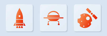 Set UFO flying spaceship, Rocket ship and Satellites orbiting the planet Earth. White square button. Vector Stock fotó - 152574240