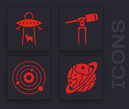 Set Planet Saturn, UFO abducts cow, Telescope and Solar system icon. Vector
