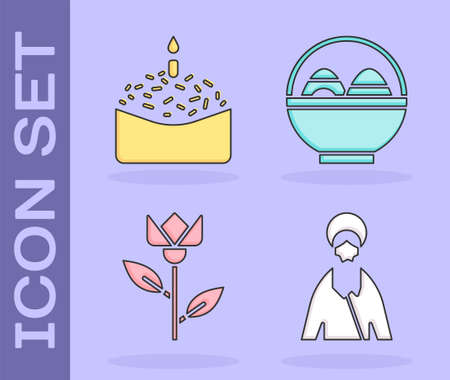 Set Jesus Christ, Easter cake and candle, Flower tulip and Basket with easter eggs icon. Vector