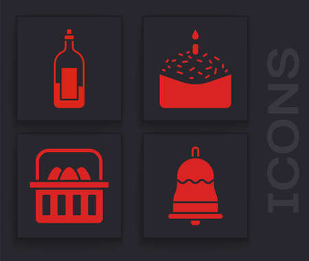 Set Ringing bell, Bottle of wine, Easter cake and candle and Basket with easter eggs icon. Vector