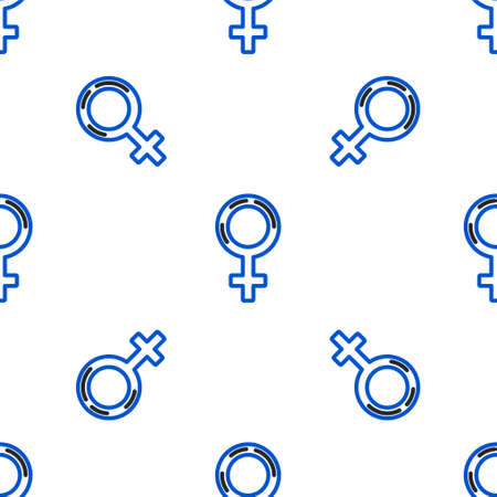 Line Female gender symbol icon isolated seamless pattern on white background. Venus symbol. The symbol for a female organism or woman. Colorful outline concept. Vector Ilustração