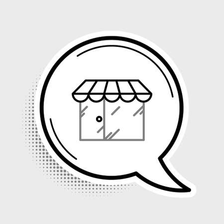 Line Barbershop building icon isolated on grey background. Colorful outline concept. Vector  イラスト・ベクター素材