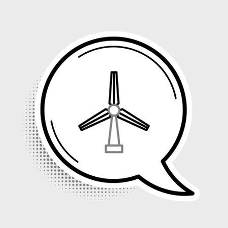 Line Wind turbine icon isolated on grey background. Wind generator sign. Windmill for electric power production. Colorful outline concept. Vector Vettoriali