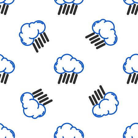 Line Cloud with rain icon isolated seamless pattern on white background. Rain cloud precipitation with rain drops. Colorful outline concept. Vector