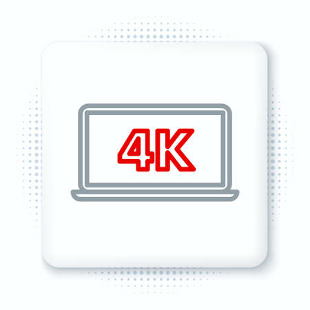 Line Laptop screen with 4k video technology icon isolated on white background. Colorful outline concept. Vector  イラスト・ベクター素材