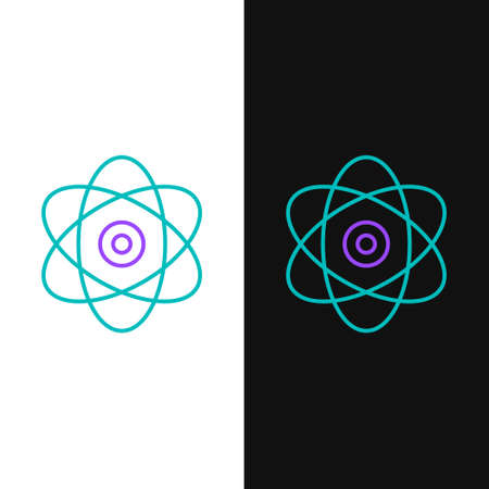 Line Atom icon isolated on white and black background. Symbol of science, education, nuclear physics, scientific research. Electrons and protons sign. Colorful outline concept. Vector.