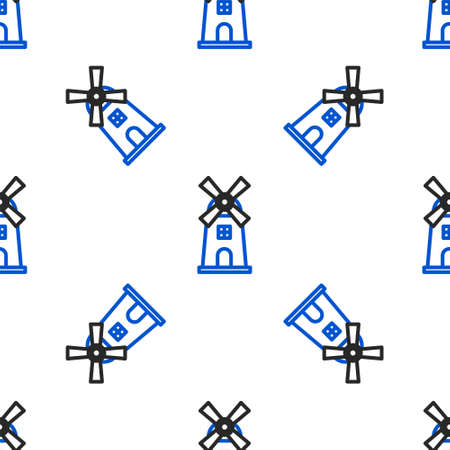 Line Windmill icon isolated seamless pattern on white background. Colorful outline concept. Vector