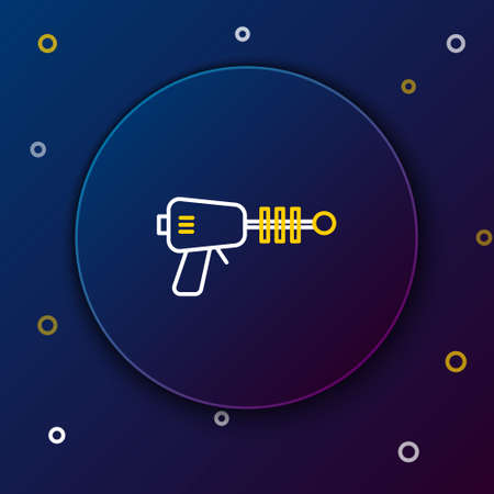 Line Ray gun icon isolated on blue background. Laser weapon. Space blaster. Colorful outline concept. Vector Illusztráció