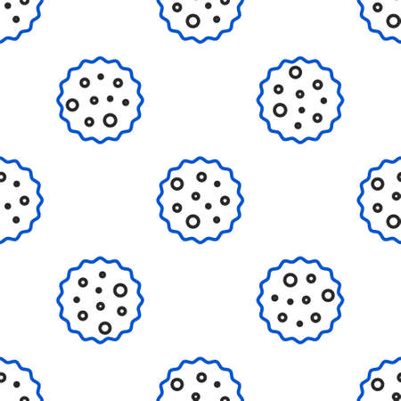 Line Cookie or biscuit with chocolate icon isolated seamless pattern on white background. Colorful outline concept. Vector