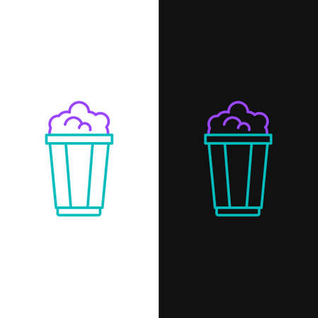 Line Popcorn in cardboard box icon isolated on white and black background. Popcorn bucket box. Colorful outline concept. Vector