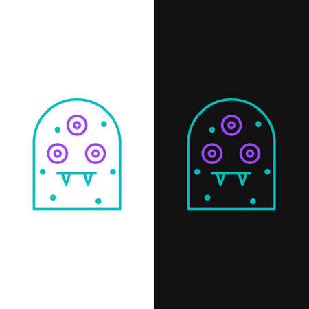 Line Alien icon isolated on white and black background. Extraterrestrial alien face or head symbol. Colorful outline concept. Vector Stock fotó - 152624941