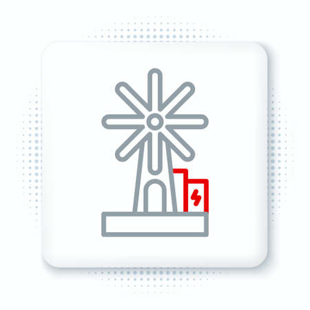Line Wind turbine icon isolated on white background. Wind generator sign. Windmill for electric power production. Colorful outline concept. Vector