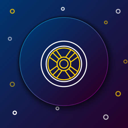 Line Car wheel icon isolated on blue background. Colorful outline concept. Vector
