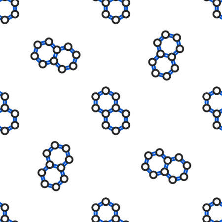 Line Molecule icon isolated seamless pattern on white background. Structure of molecules in chemistry, science teachers innovative educational poster. Colorful outline concept. Vector