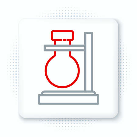 Line Glass test tube flask on stand icon isolated on white background. Laboratory equipment. Colorful outline concept. Vector 일러스트