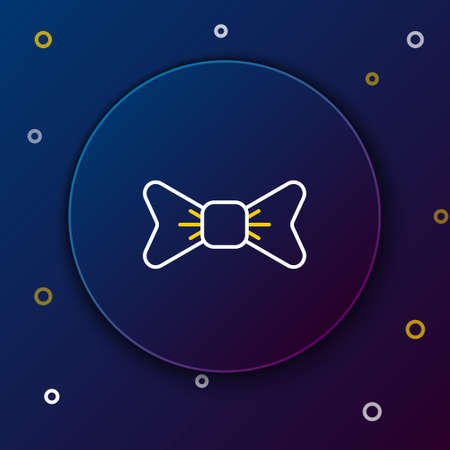 Line Bow tie icon isolated on blue background. Colorful outline concept. Vector