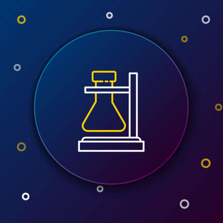 Line Glass test tube flask on stand icon isolated on blue background. Laboratory equipment. Colorful outline concept. Vector