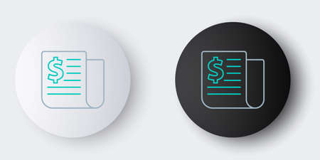 Line Financial news icon isolated on grey background. Colorful outline concept. Vector