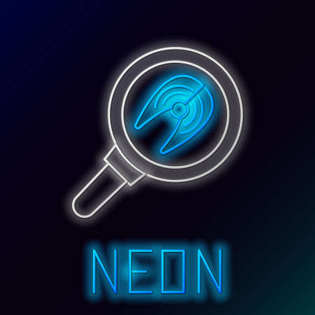 Glowing neon line Fish steak in frying pan icon isolated on black background. Colorful outline concept. Vector