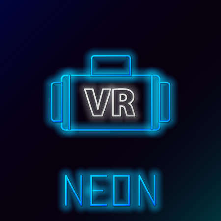 Glowing neon line Virtual reality glasses icon isolated on black background. Stereoscopic 3d vr mask. Colorful outline concept. Vector