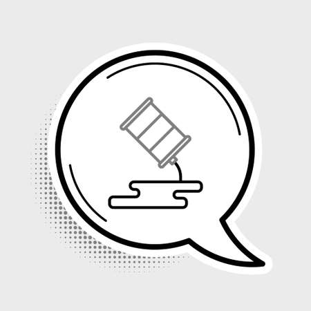 Line Barrel oil leak icon isolated on grey background. Colorful outline concept. Vector