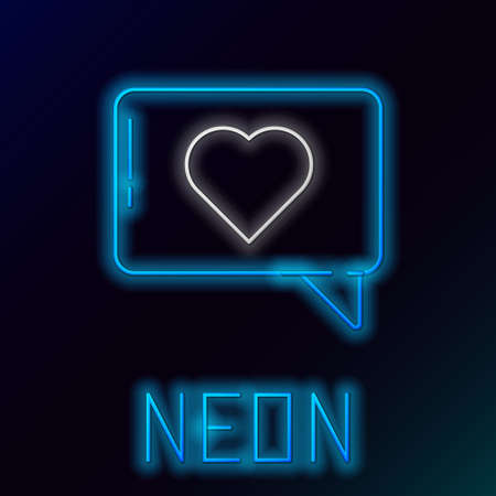 Glowing neon line Like and heart icon isolated on black background. Counter Notification Icon. Follower Insta. Colorful outline concept. Vector