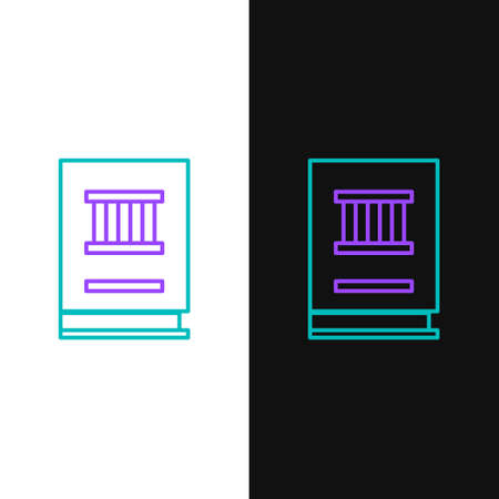 Line Law book icon isolated on white and black background. Legal judge book. Judgment concept. Colorful outline concept. Vector 向量圖像