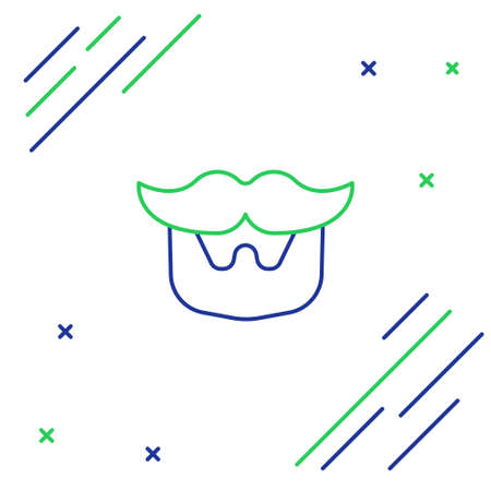 Line Mustache and beard icon isolated on white background. Barbershop symbol. Facial hair style. Colorful outline concept. Vector