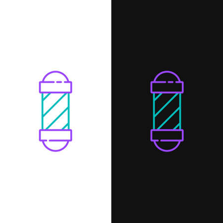 Line Classic Barber shop pole icon isolated on white and black background. Barbershop pole symbol. Colorful outline concept. Vector  イラスト・ベクター素材