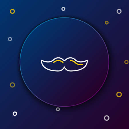 Line Mustache icon isolated on blue background. Barbershop symbol. Facial hair style. Colorful outline concept. Vector