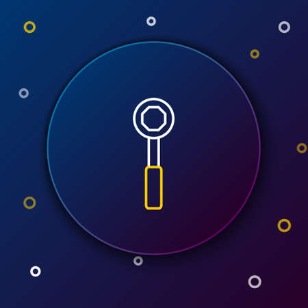 Line Wrench spanner icon isolated on blue background. Colorful outline concept. Vector.