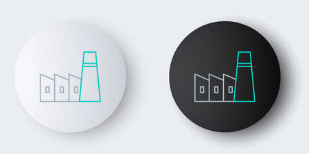 Line Oil and gas industrial factory building icon isolated on grey background. Colorful outline concept. Vector