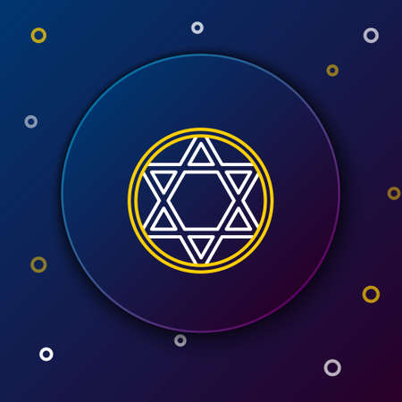 Line Star of David icon isolated on blue background. Jewish religion symbol. Symbol of Israel. Colorful outline concept. Vector Illustration