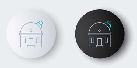 Line Astronomical observatory icon isolated on grey background. Observatory with a telescope. Scientific institution. Colorful outline concept. Vector